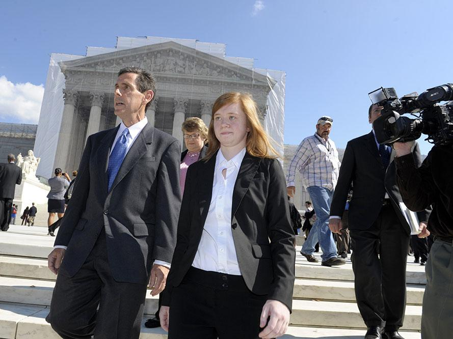Abigail+Fisher%2C+the+Texan+involved+in+the+University+of+Texas+affirmative+action+case%2C+and+Edward+Blum%2C+who+runs+a+group+working+to+end+affirmative+action%2C+walk+outside+the+Supreme+Court+in+Washington%2C+Wednesday%2C+Oct.+10%2C+2012.+The+Supreme+Court+is+taking+up+a+challenge+to+a+University+of+Texas+program+that+considers+race+in+some+college+admissions.+The+case+could+produce+new+limits+on+affirmative+action+at+universities%2C+or+roll+it+back+entirely.+%28AP+Photo%2FSusan+Walsh%29