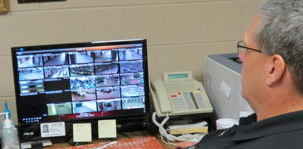 Officer Dan Lair has the ability from one location to check all cameras on campus.