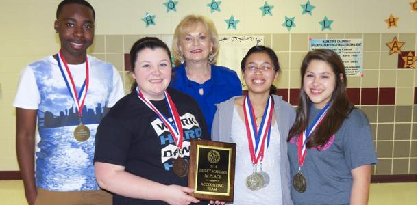 The Lufkin Accounting Team took first place at UIL District. From left are Kevin Moore- 7th place, Alexis Foster- 3rd place, Kimlang Ly and Vanessa Saucedo- tied for 1st. The team is coached by Janice Holcomb.