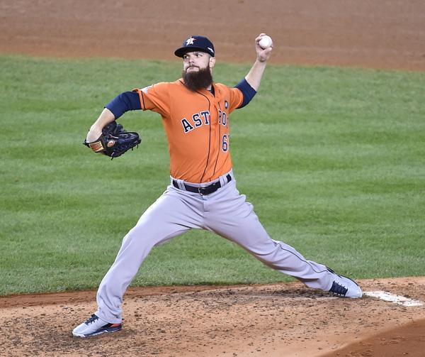 Houston Astros starting pitcher Dallas Keuchel works in the fifth inning against the New York Yankees at Yankee Stadium during the American League Wild Card Game on Tuesday, Oct. 6, 2015, in New York. (J. Conrad Williams Jr./Newsday/TNS)