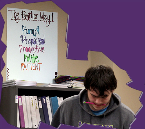Students work in class with The Panther Way posted in various ways, like shown here in Catheine Adams' English classroom.