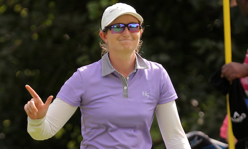 Hannah Arnold is seen during Round 1 of the 2017 Ladies Tshwane Open at Zwartkop Country Club on Jan. 31, 2017, in Pretoria, South Africa. (Photo by PETRI OESCGHER/Sunshine Tour/Gallo Images)