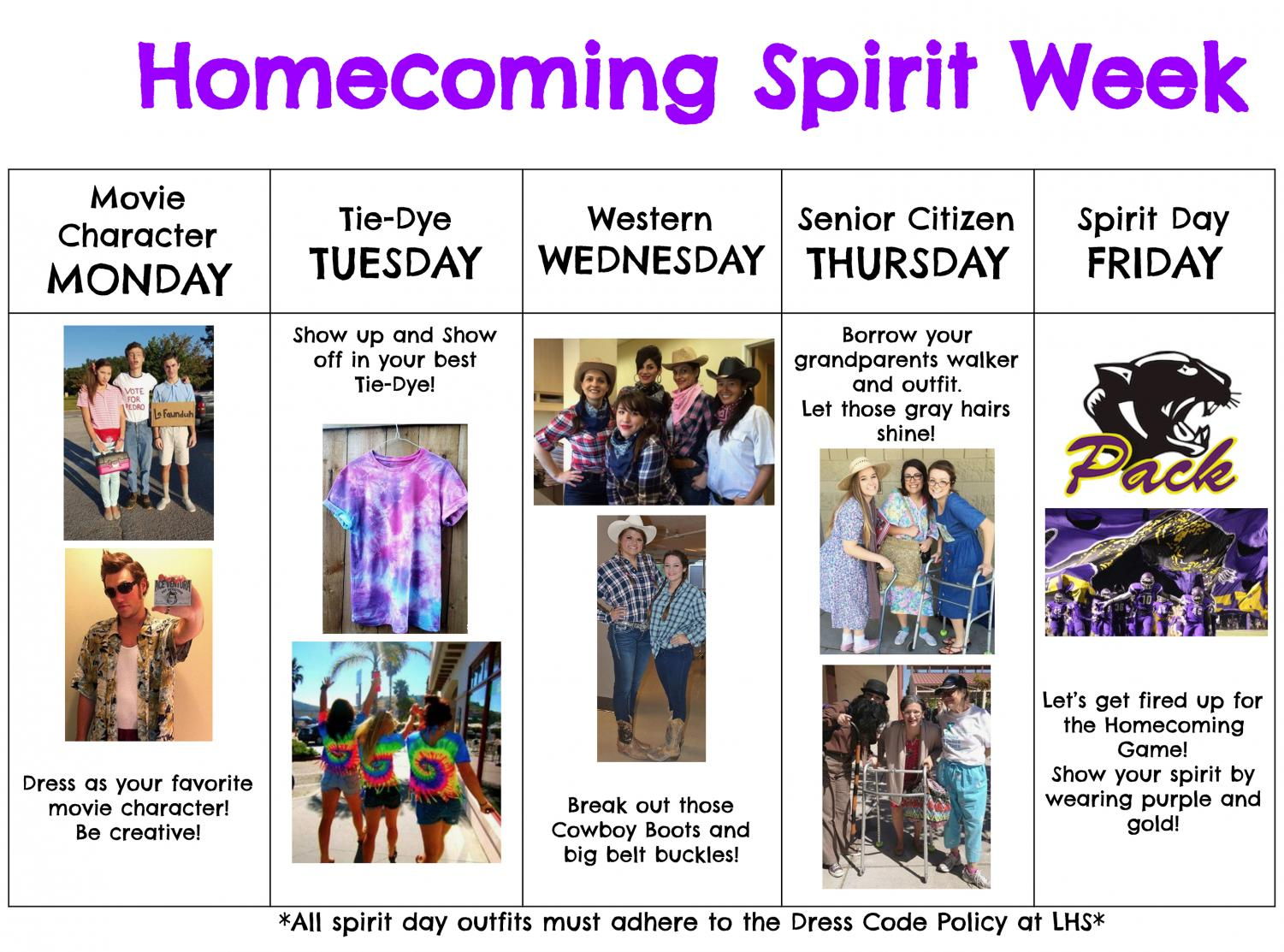 Dress Themes Announced For Homecoming Spirit Week 2018 Panther Growls
