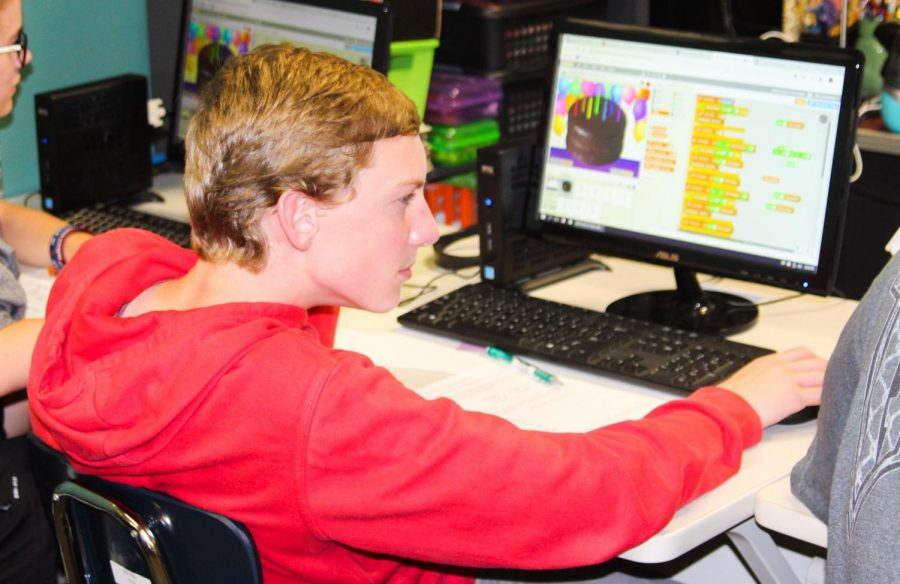 Lufkin High School freshman Nathan Hinckley works on a coding project in Computer Science Principles. (Photo by EBONY TATMON/Lufkin High School Panther Growls)