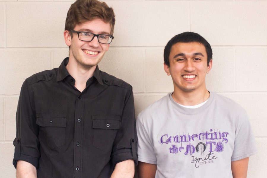 Lufkin High School seniors Bryce King, left, and Ali Khurshid smile after learning today that they have been named as Commended Students in the National Merit Scholarship Program. (Photo by ALEXIS FERNANDEZ/Lufkin High School Panther Growls)