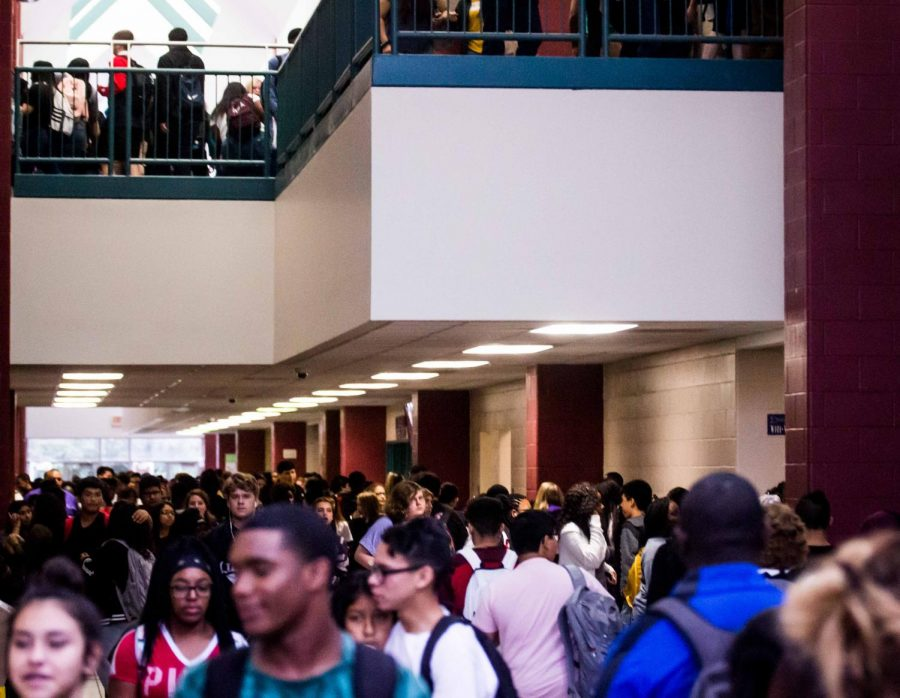 The halls of Lufkin High School are packed as students move from class to class.