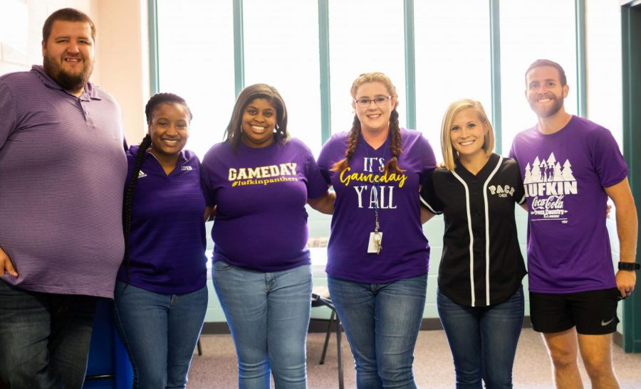 Seven Lufkin High School teachers — including, from left, Robert Inman, Calvasha Summers, Deanna Lewis, Alycia Bowling, Kirstie Russell and Hunter Russell — are celebrating their Class of 2008 reunion together this weekend. Not pictured is Cynthia Hernandez. Lufkin High School's 2018 homecoming festivities are scheduled to begin around 7 o'clock tonight, followed by the Panthers' district football game against Magnolia. (Photo by ALEXIS FERNANDEZ/Lufkin High School Panther Growls)