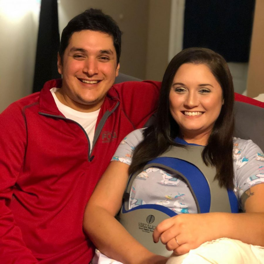 Lufkin High School English teacher Brittany Sanchez, right, and her husband Robert smile for a photo. Both were injured in an automobile accident in September.