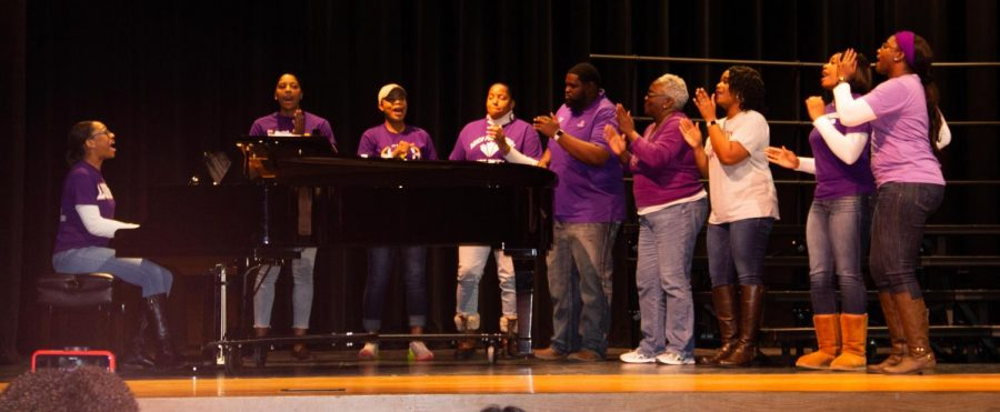 Members of Lufkin's First Missionary Baptist Church sing during the Lufkin Independent School District's Soul to Soul event on Monday night in the Tom Jack Lucas Auditorium. (Photo by JALEXUS LEWIS/Lufkin High School Panther Growls news)