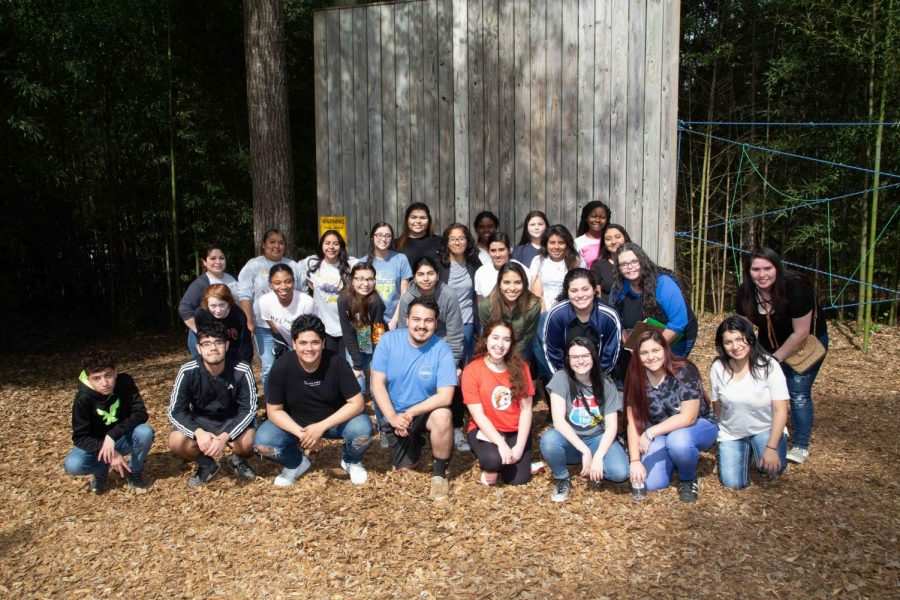 Communities in Schools members tackle ropes course at Angelina College