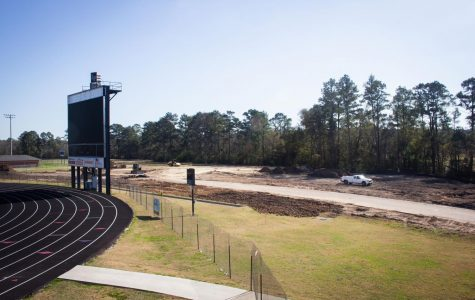 Construction crews have begun building Lufkin High School's new multipurpose facility behind the Abe Martin Stadium scoreboard. (Photo by ERIC PALACIOS/Lufkin High School Panther Growls staff member)
