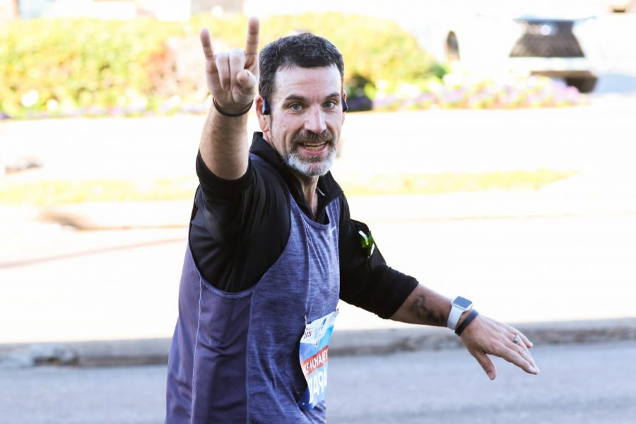 Lufkin High School Audio/Visual teacher Mike McHaney runs in the 2020 Houston Marathon earlier this month. (Photo by ANDY ADAMS/Lufkin ISD)