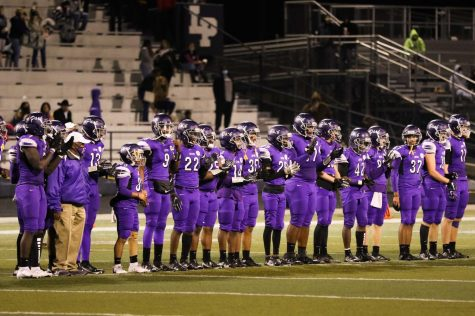 Members of Lufkin's varsity football team applaud their opponent, New Caney, after the Pack's 13-7 overtime win on Oct. 30 in Abe Martin Stadium. (Photo by ANDY ADAMS/Lufkin ISD)