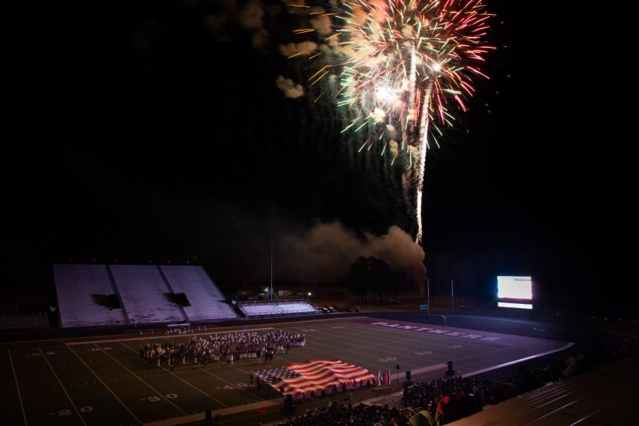 Fireworks explode behind Abe Martin Stadium during last year's Honor America Night. (Photo by ANDY ADAMS/Lufkin ISD)