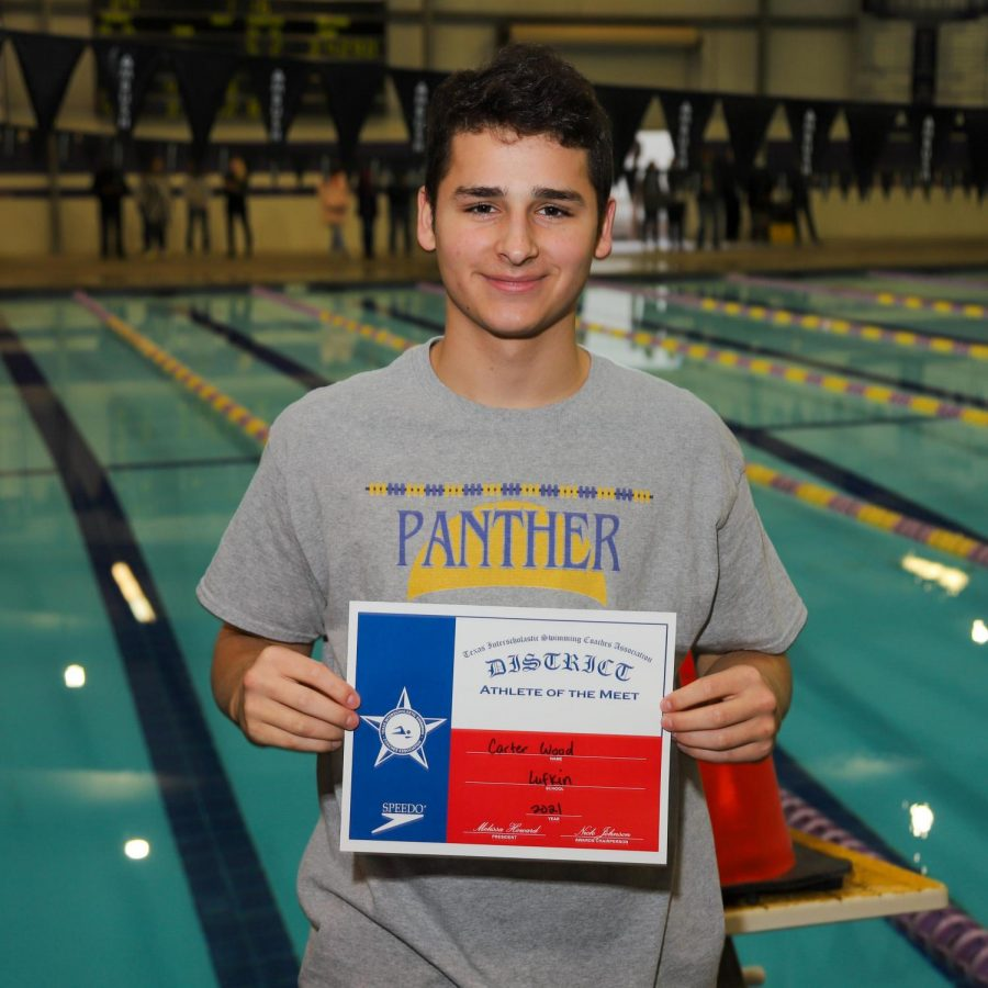 Lufkin High School junior Carter Wood earned a district title in January and is the top-seeded diver in the state heading into this weekend's regional championships. (Photo by ANDY ADAMS/Lufkin ISD)